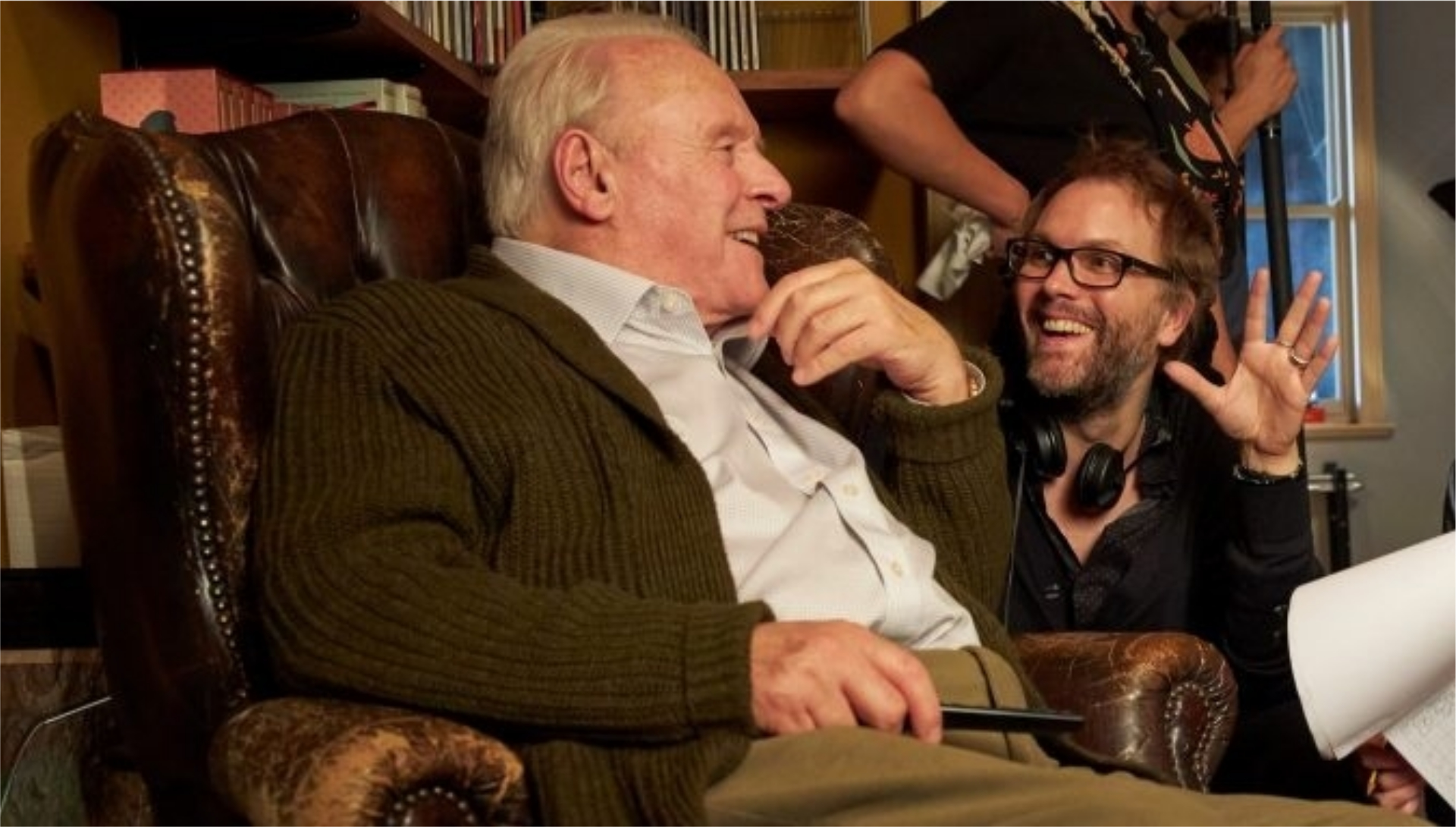 Anthony Hopkins et Florian Zeller sur le tournage de The Father