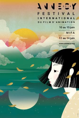 Affiche réalisée par Charlotte Gastaud, selon une esthétique nippone à l'image du pays invité de l'édition 2019 du festival.